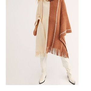 NWT FREE PEOPLE PARK SLOPE COWL PONCHO WOMENS TAN